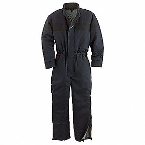 UltraSoft®, Flame-Resistant Coverall, Size: L Long, Color Family: Blues, Closure Type: Zipper
