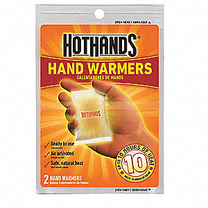 Hand Warmer, Up to 10 hr. Heating Time, Activates By Contact with Air