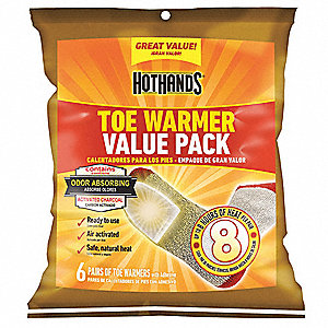 Toe Warmer, Up to 8 hr. Heating Time, Activates By Contact with Air
