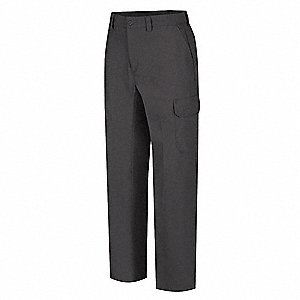"Men's Work Pants, Cotton/Polyester, Color: Charcoal, Fits Waist Size: 46"" x 34"""