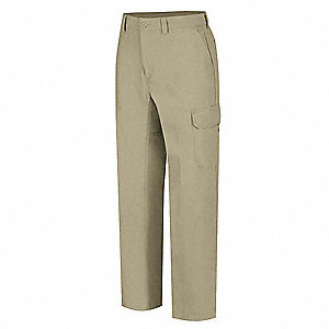 "Men's Work Pants, Cotton/Polyester, Color: Khaki, Fits Waist Size: 30"" x 32"""
