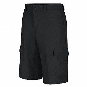 "Black Cargo Shorts, Cotton/Polyester, Fits Waist Size 48"", Inseam 12"""