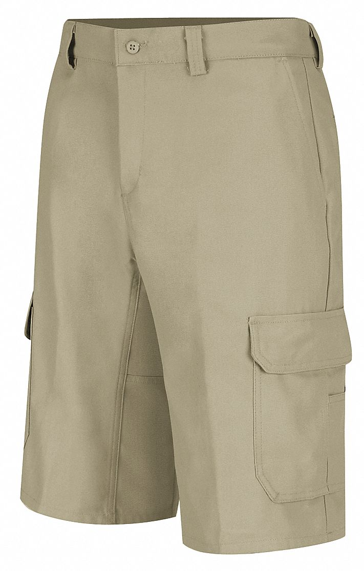 Khaki Cargo Shorts, Cotton/Polyester, Fits Waist Size 32 in, Inseam 12 in