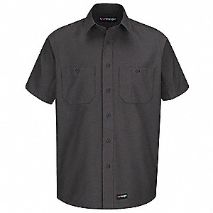 "Charcoal Short Sleeve Shirt,  2XL,  Polyester/Cotton,  32"" Length,  Fits Chest Size 59"""