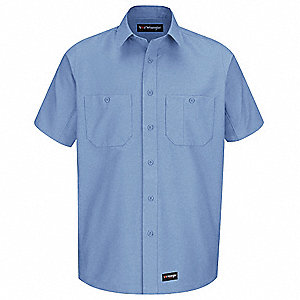 "Light Blue Short Sleeve Shirt,  M,  Polyester/Cotton,  31"" Length,  Fits Chest Size 48"""