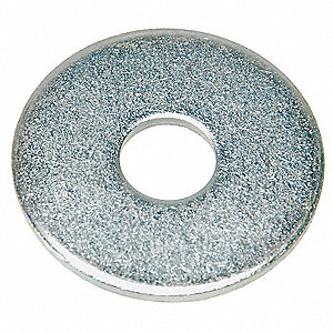 "1/4""x47/64"" O.D., Type B Regular Flat Washer, Stainless Steel, 18-8, Plain, PK10"