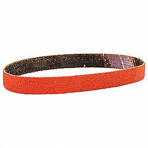 "Sanding Belt, 12"" Length, 1/2"" Width, Ceramic, 80 Grit, Medium, Coated, R980P Blaze, 1EA"