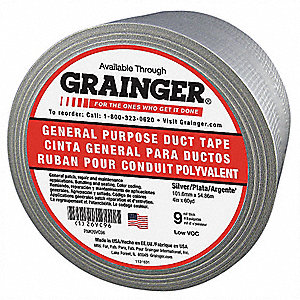 "Industrial Duct Tape, 4"" X 60 yd., 9.00 mil Thick, Gray Coated Cloth, 1 EA"