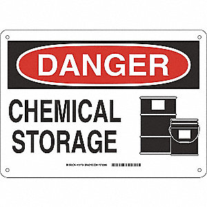 "Chemical, Gas or Hazardous Materials, Danger, Fiberglass, 10"" x 14"", With Mounting Holes"