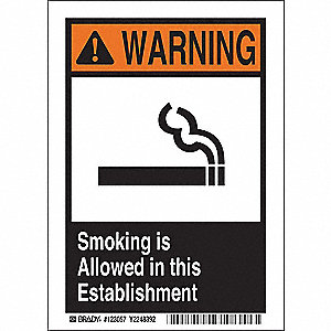 Smoking Area Sign,10in.H x7in.W,Plastic