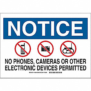 "Phone Usage, Notice, Polyester, 10"" x 14"", Adhesive Surface, Not Retroreflective"