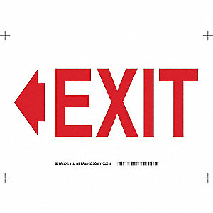 Exit Sign,7inHx10inW,Sticking Polyester
