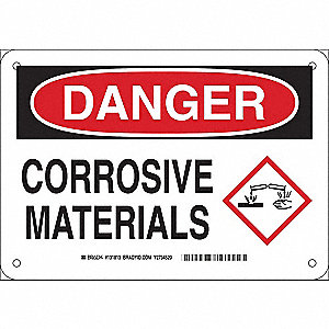 "Chemical, Gas or Hazardous Materials, Danger, Plastic, 7"" x 10"", With Mounting Holes"