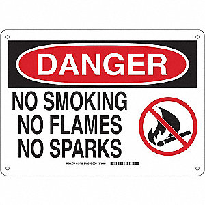 No Smoking Sign,10in.H x 14in.W,Aluminum