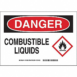 "Chemical, Gas or Hazardous Materials, Danger, Aluminum, 7"" x 10"", With Mounting Holes"