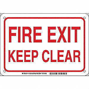"Sign,Fire Exit Keep Clear,7""x10"""
