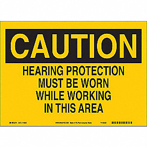 "Personal Protection, Caution, Paper, 7"" x 10"", With Mounting Holes, Not Retroreflective"