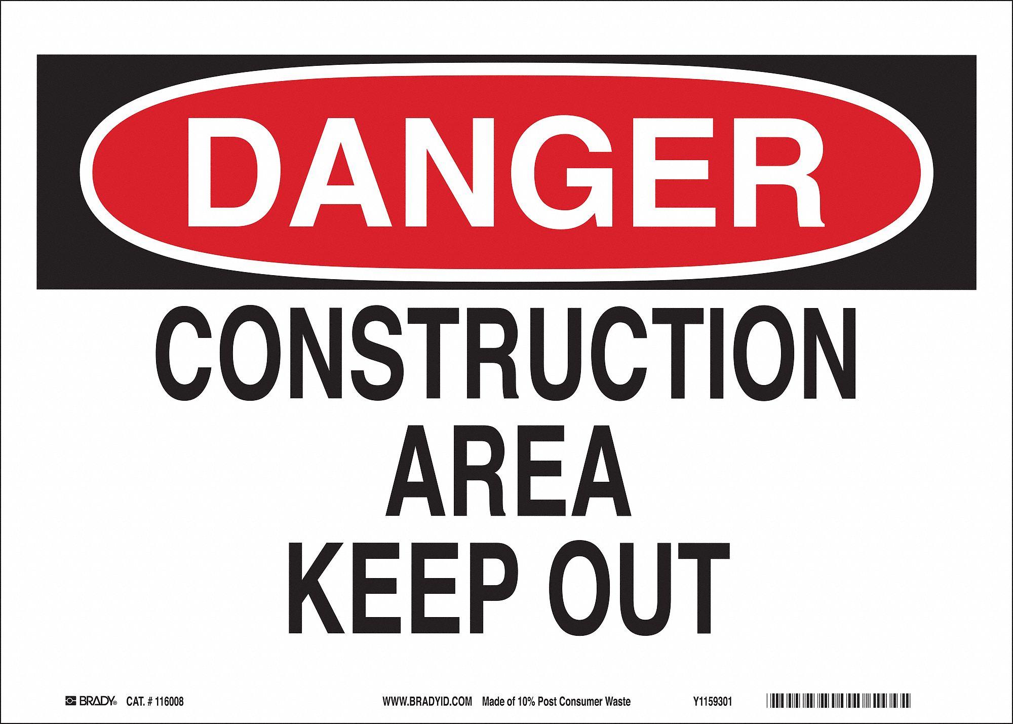 Brady Danger Sign (10 in H x 14 in W, Eco-Friendly Ppr). Model: 116008
