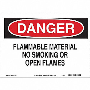 Danger No Smoking Sign,Flammable,10x14