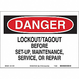 "Lockout Tagout, Danger, Paper, 7"" x 10"", With Mounting Holes, Not Retroreflective"