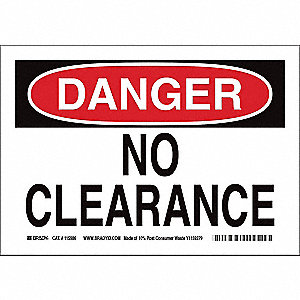 "Overhead Clearance, Danger, Paper, 7"" x 10"", With Mounting Holes, Not Retroreflective"