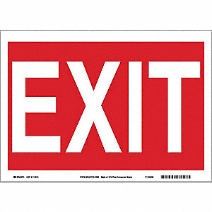 Exit Sign,7in. H x 10in. W,Acetate Film