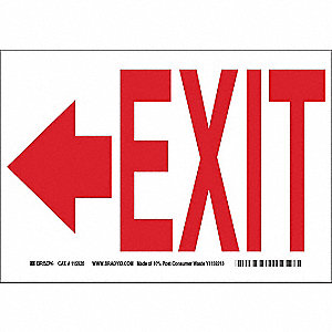 Exit Sign,10 x 14In,R/WHT,AL,Exit,ENG