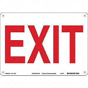 Exit Sign,7inHx10inW,Eco-Friendly Plastc