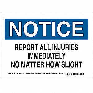 "Accident Prevention, Notice, Paper, 7"" x 10"", With Mounting Holes, Not Retroreflective"