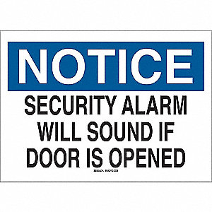 "Notice Sign, Security Alarm, 7""x10"""