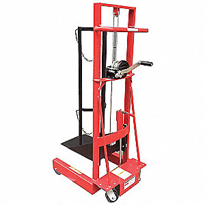 "Cylinder Lift Truck, Hand Winch Lift, 300 lb., Overall Width 29-1/4"", Overall Length 20-3/4"""