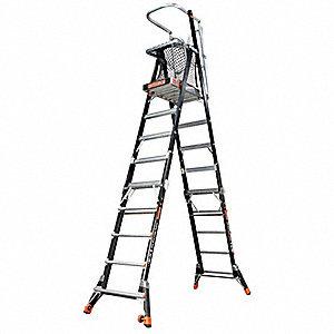 Little Giant Fiberglass Safety Cage Platform Ladder 8 To