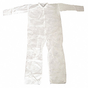 Collared Disposable Coveralls with Open Cuff, White, M, Polypropylene