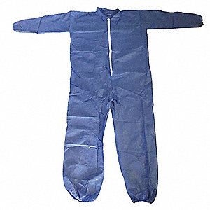 Collared Disposable Coveralls with Elastic Cuff, Polypropylene Material, Blue, 2XL