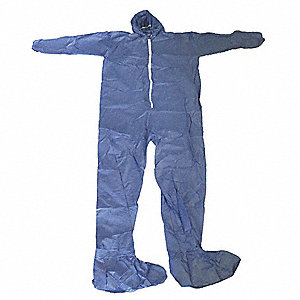 Hooded Disposable Coveralls with Elastic Cuff, Blue, 2XL, Polypropylene
