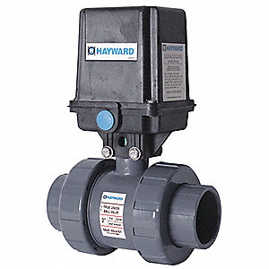 "PVC Electronic Actuated Ball Valve, 2"" Pipe Size, 120VAC Voltage"