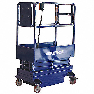 "Scissor Lift, Push-Around Drive, Battery Power Source, 70"" Overall Height, 500 lb. Load Capacity"
