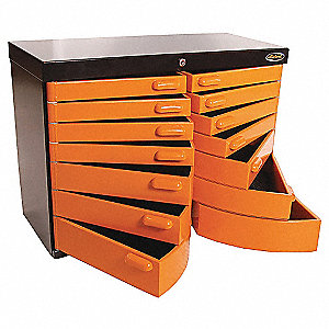 "Orange/Black Top Chest, 32-3/4"" Width x 13-1/2""  Depth x 24-1/2"" Height, Number of Drawers: 12"
