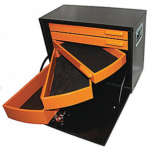 Five Drawer Road Box,Orange/Black,Steel