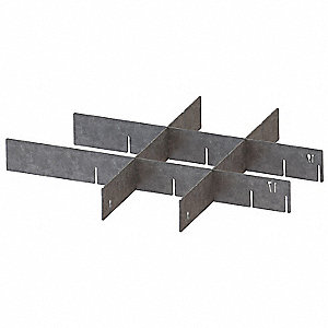 "Silver Drawer Divider Set, Galvanized Steel, 14-1/2"" Length, 1/16"" Width"
