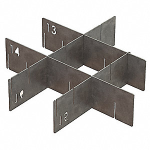 "Silver Drawer Divider Set, Galvanized Steel, 12"" Length, 1/16"" Width"