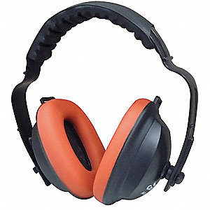 21dB Ear Muffs, Black Cup/Red Ear Foam&#x3b; ANSI S12.42 (S3.19)