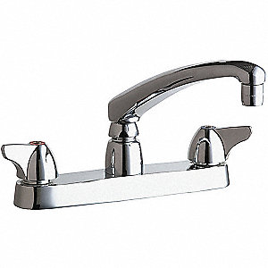 Cast Brass Kitchen Faucet, Manual Faucet Operation, Number of Handles: 2