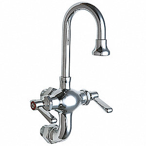 Cast Brass Gooseneck Kitchen Faucet, Manual Faucet Operation, Number of Handles: 2
