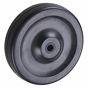 "4"" Caster Wheel, 140 lb. Load Rating, Wheel Width 1"", Rubber, Fits Axle Dia. 5/16"""