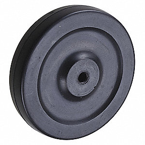 "5"" Caster Wheel, 145 lb. Load Rating, Wheel Width 1"", Rubber, Fits Axle Dia. 5/16"""