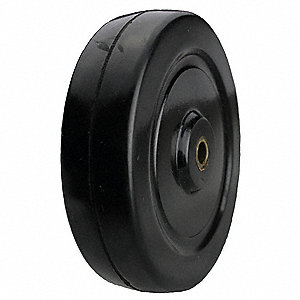 "4"" Caster Wheel, 255 lb. Load Rating, Wheel Width 1-1/4"", Rubber, Fits Axle Dia. 3/8"""