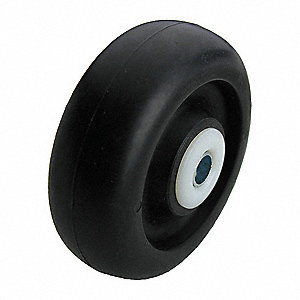 "4"" Caster Wheel, 375 lb. Load Rating, Wheel Width 1-1/4"", Polyolefin, Fits Axle Dia. 3/8"""