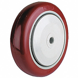 "5"" Caster Wheel, 300 lb. Load Rating, Wheel Width 1-1/4"", Polyurethane, Fits Axle Dia. 3/8"""