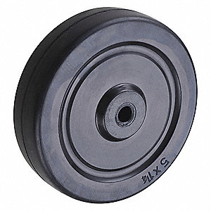 "5"" Caster Wheel, 240 lb. Load Rating, Wheel Width 1-1/4"", Rubber, Fits Axle Dia. 3/8"""